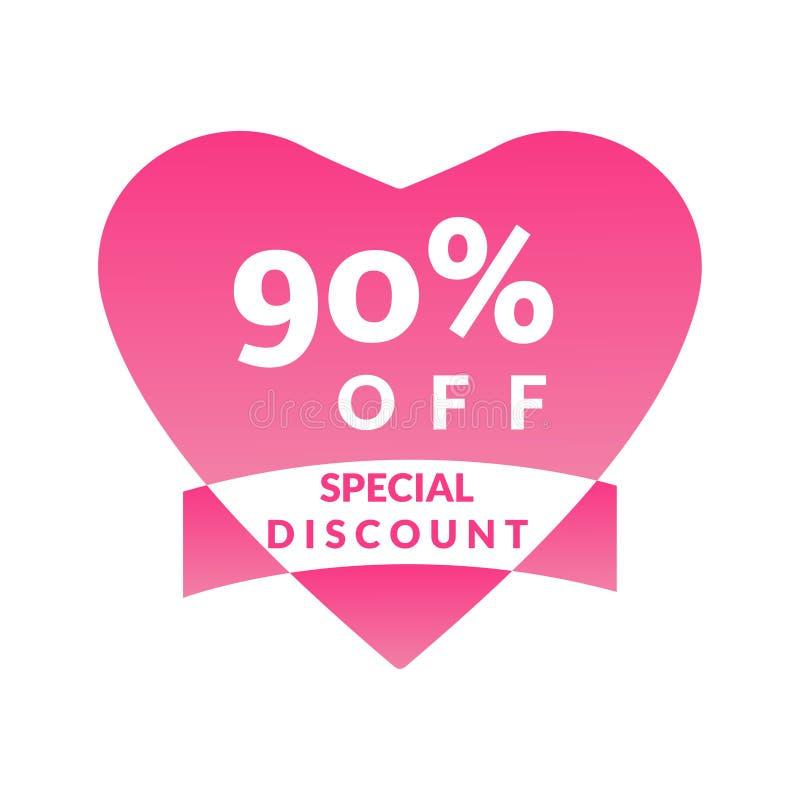 Cartaz brilhante da venda da promoção do desconto da oferta do desconto de 10%, bandeira, anúncios Valentine Day Sale, etiqueta d ilustração do vetor