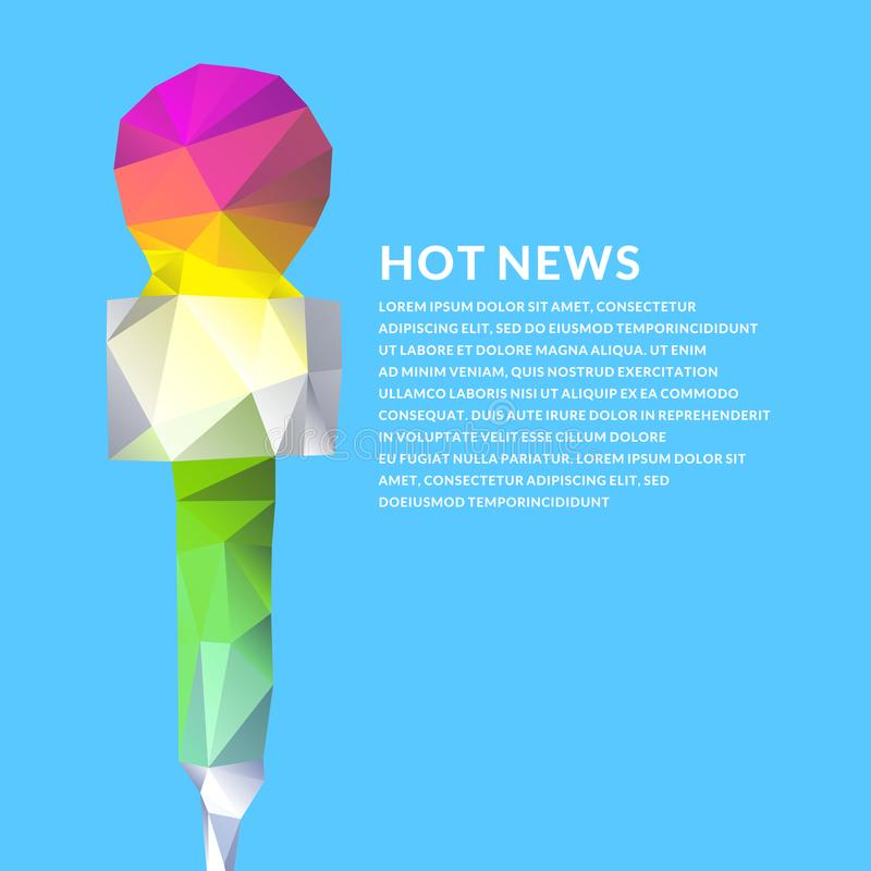 Cartaz brilhante do vetor com a notícia de um microfone no estilo poligonal ilustração do vetor