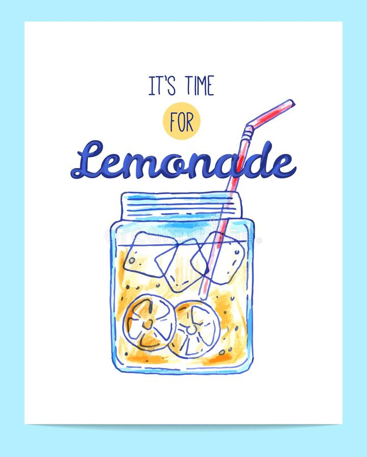 Cartaz brilhante tirado mão da limonada ilustração royalty free