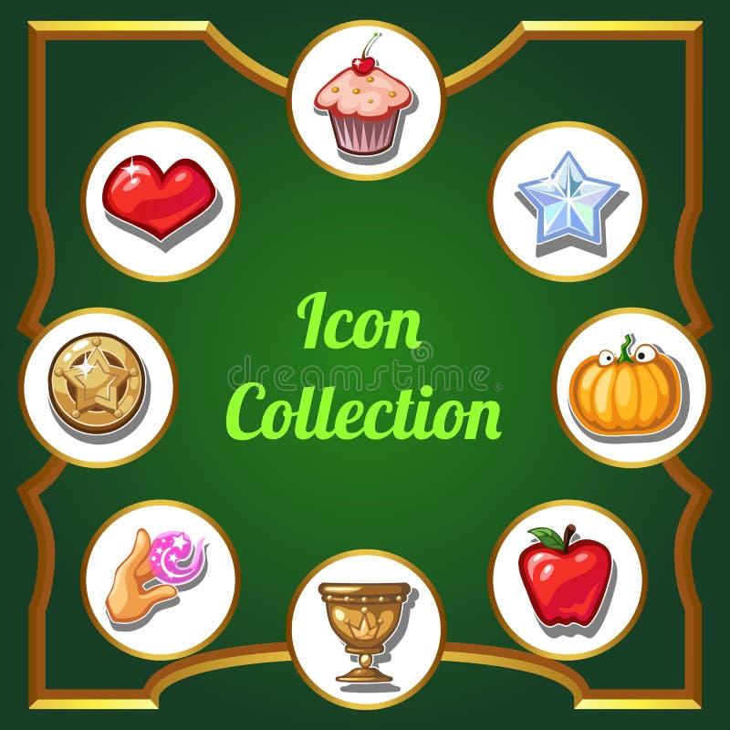 Cartaz brilhantemente decorado com uma coleção dos ícones Ilustração do close-up dos desenhos animados do vetor ilustração do vetor