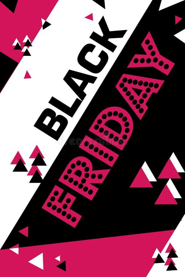 Cartaz carmesim sexta-feira preta de compra inseto moderno na moda do dia do desconto folheto para anunciar ilustração royalty free