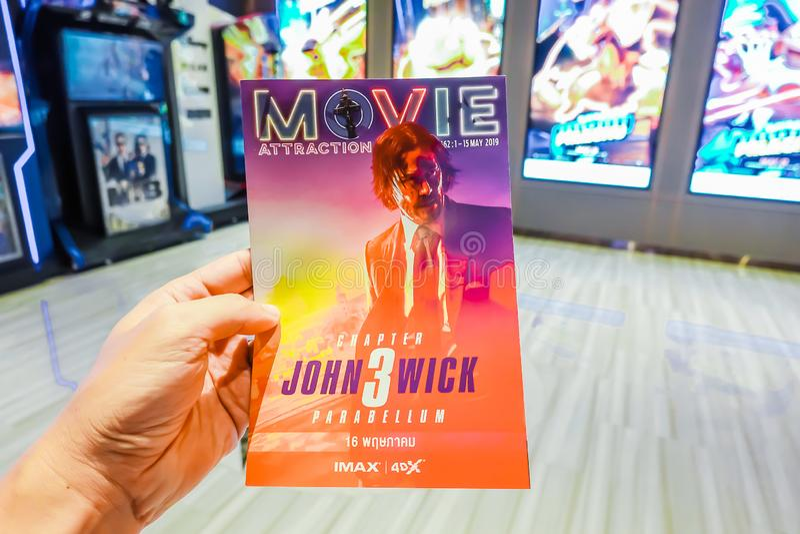 Cartaz cinematográfico da exibição de John Wick Chapter 3 Parabellum no cinema imagem de stock royalty free