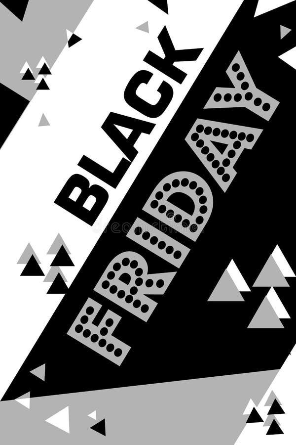 Cartaz cinzento sexta-feira preta de compra inseto moderno na moda do dia do desconto folheto para anunciar ilustração royalty free