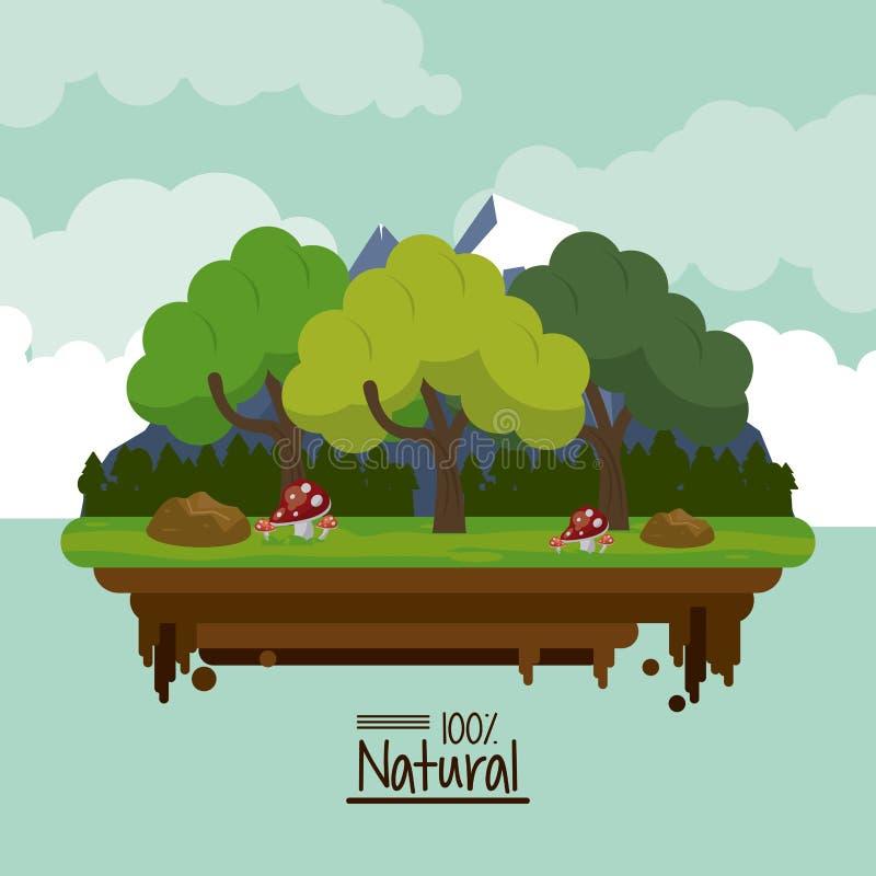 Cartaz colorido cem por cento natural com paisagem da floresta com árvores e as montanhas nevado ilustração stock