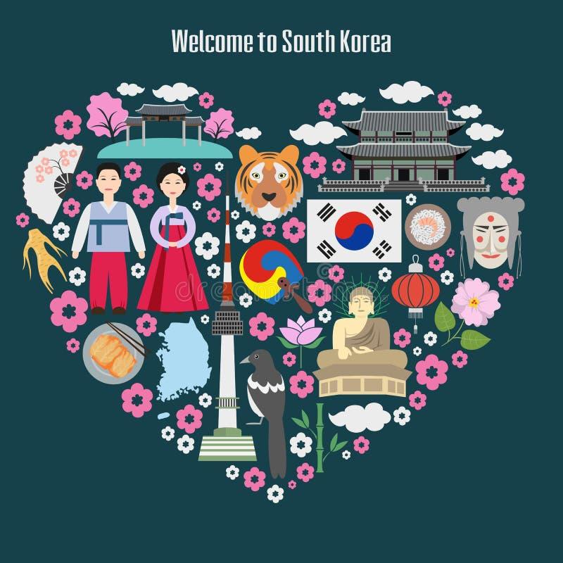 Cartaz colorido com símbolos de Coreia do Sul ilustração do vetor