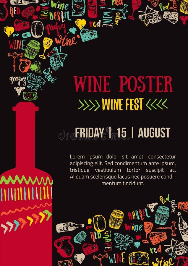 Cartaz colorido criativo do vinho Cartaz do Fest do vinho Cartaz da casa do vinho com rotulação ilustração royalty free