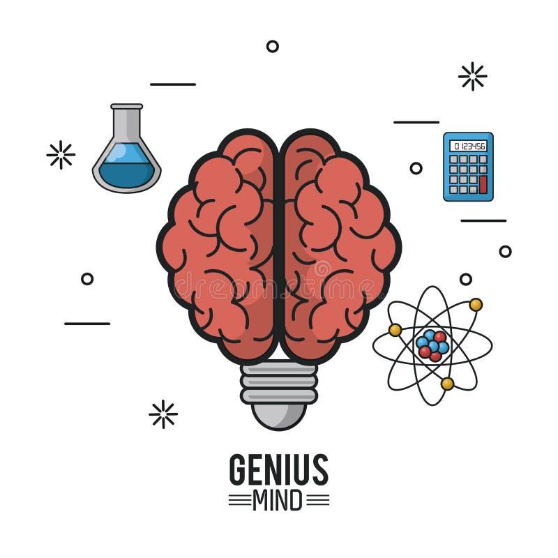 Cartaz colorido da mente do gênio com o cérebro com o soquete da ampola e os ícones do tubo de ensaio e o átomo e a calculadora ilustração royalty free