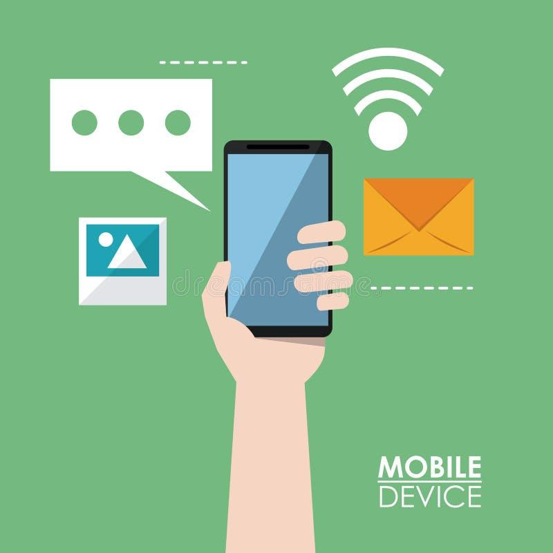 Cartaz colorido de dispositivos móveis com as mãos que guardam o smartphone e ícones comuns no fundo ilustração royalty free