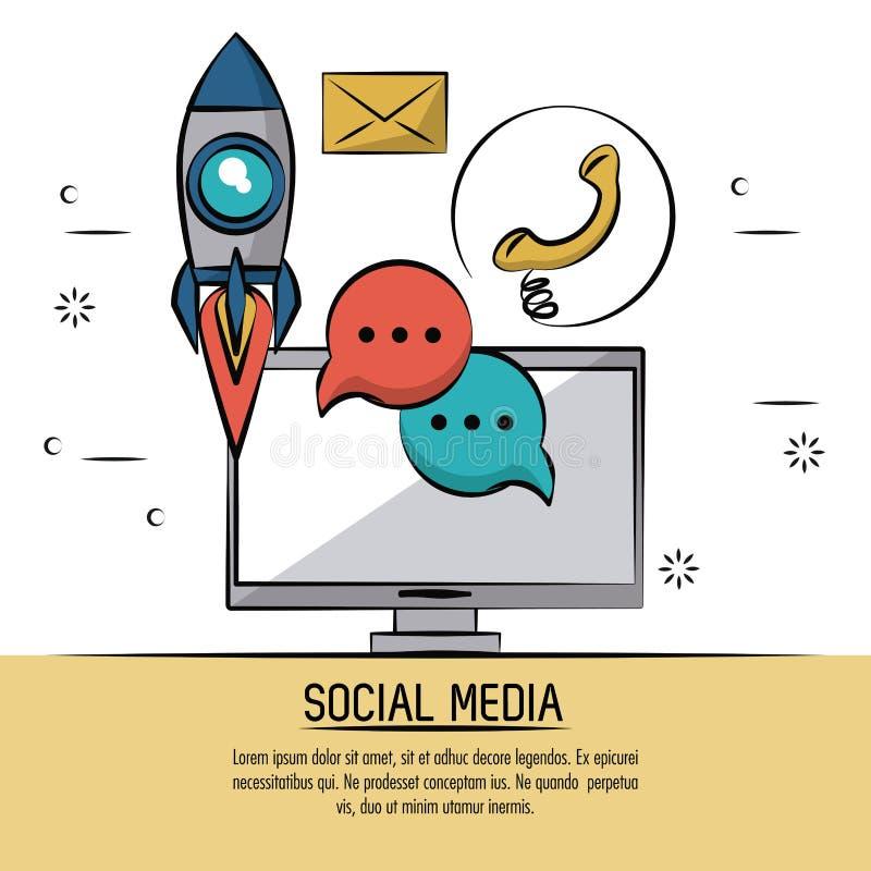 Cartaz colorido de meios sociais com computador de secretária e ícones da bolha do foguete e do discurso e do telefone e do corre ilustração stock