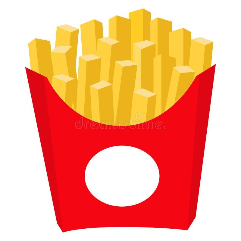 Cartaz colorido do ícone do fast food das microplaquetas de batata das batatas fritas ilustração do vetor