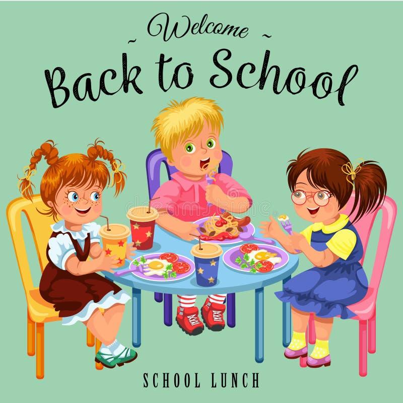 Cartaz colorido do almoço escolar ilustração royalty free