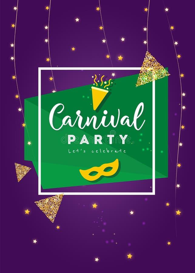 Cartaz colorido do carnaval Ilustração do vetor ilustração stock