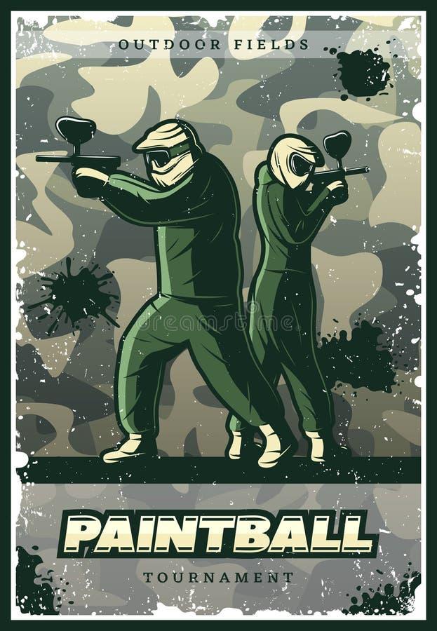 Cartaz colorido do clube do Paintball do vintage ilustração royalty free