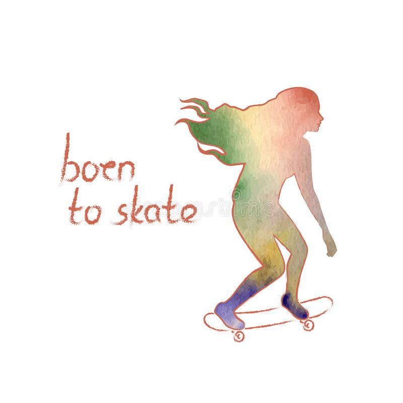 Cartaz colorido do vetor com uma silhueta de uma menina de patinagem com cabelo de voo longo Conceito da atividade do esporte e d ilustração royalty free
