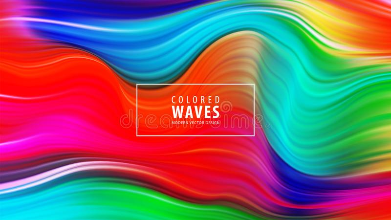 Cartaz colorido moderno do fluxo Forma líquida da onda no fundo azul da cor Projeto da arte Ilustração do vetor ilustração stock