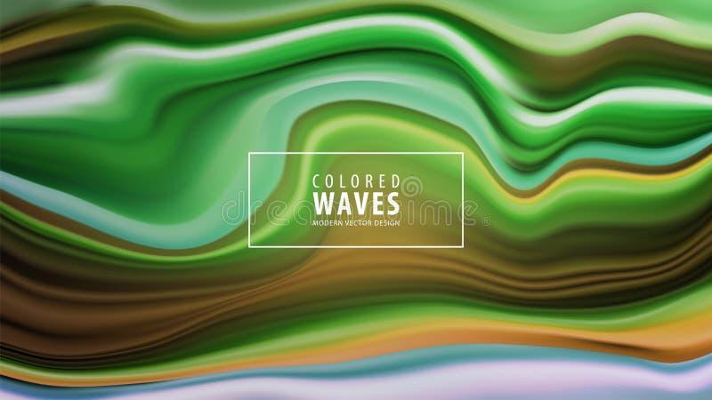 Cartaz colorido moderno do fluxo Forma líquida da onda no fundo azul da cor Projeto da arte Ilustração do vetor ilustração royalty free