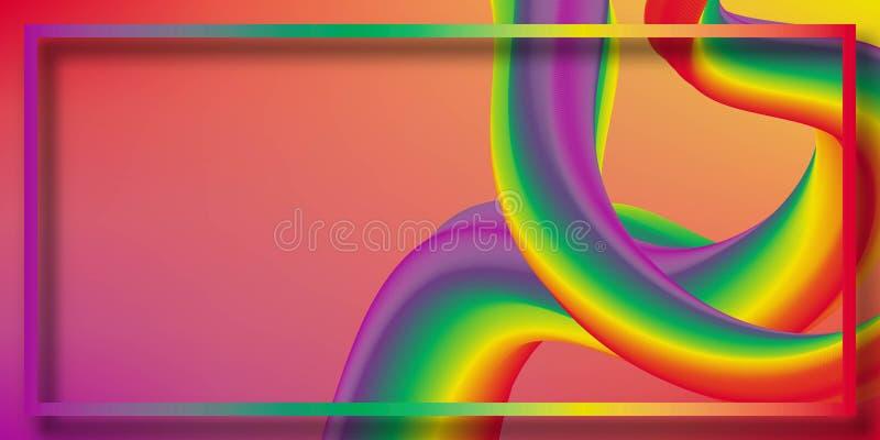 Cartaz colorido moderno do fluxo Forma líquida da onda no fundo azul da cor Projeto da arte para seu projeto de design ilustração do vetor