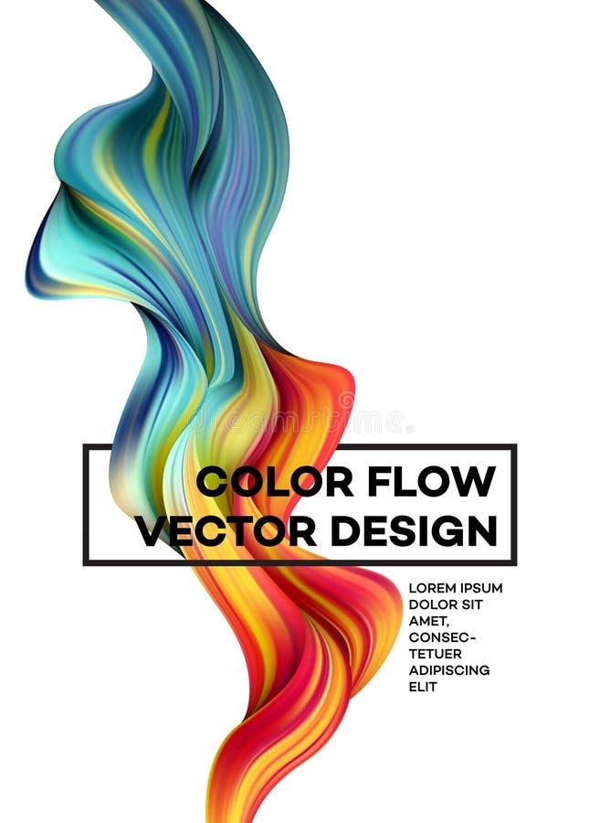 Cartaz colorido moderno do fluxo Forma líquida da onda no fundo branco da cor Projeto da arte para seu projeto de design Vetor ilustração royalty free
