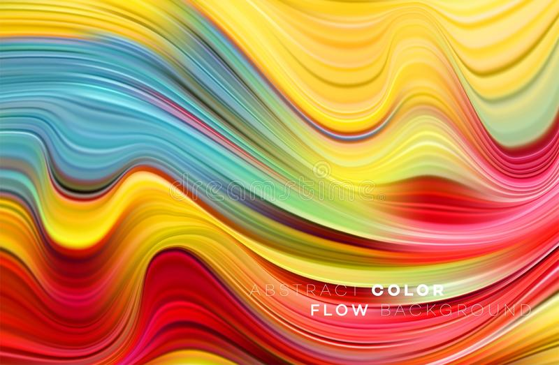 Cartaz colorido moderno do fluxo Forma líquida da onda no fundo preto da cor Projeto da arte para seu projeto de design Vetor ilustração do vetor