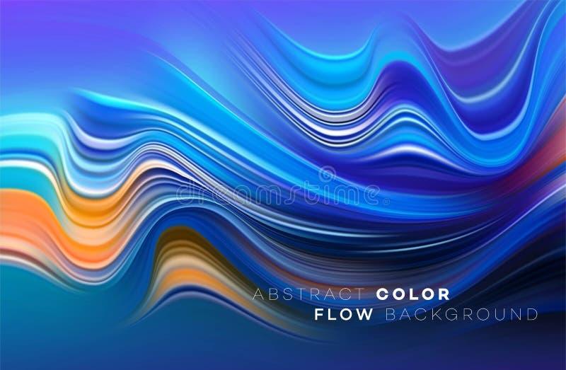 Cartaz colorido moderno do fluxo Forma líquida da onda no fundo preto da cor Projeto da arte para seu projeto de design Vetor ilustração royalty free