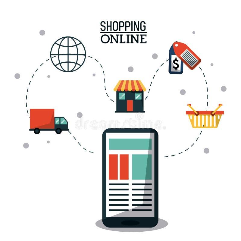 Cartaz colorido que compra em linha com smartphone e processo de compra em linha ilustração do vetor
