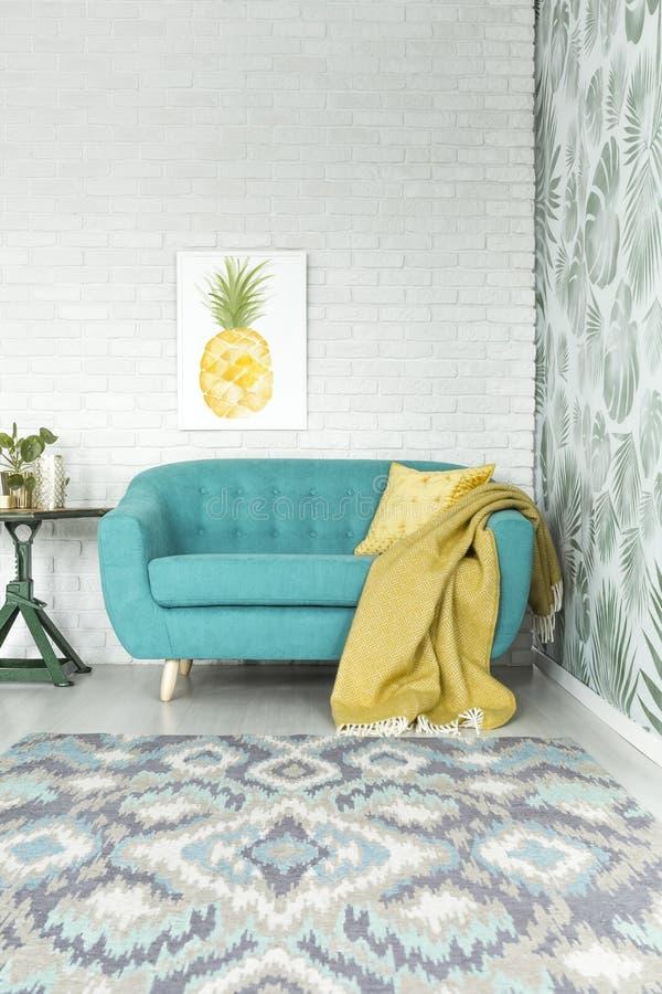 Cartaz com abacaxi foto de stock
