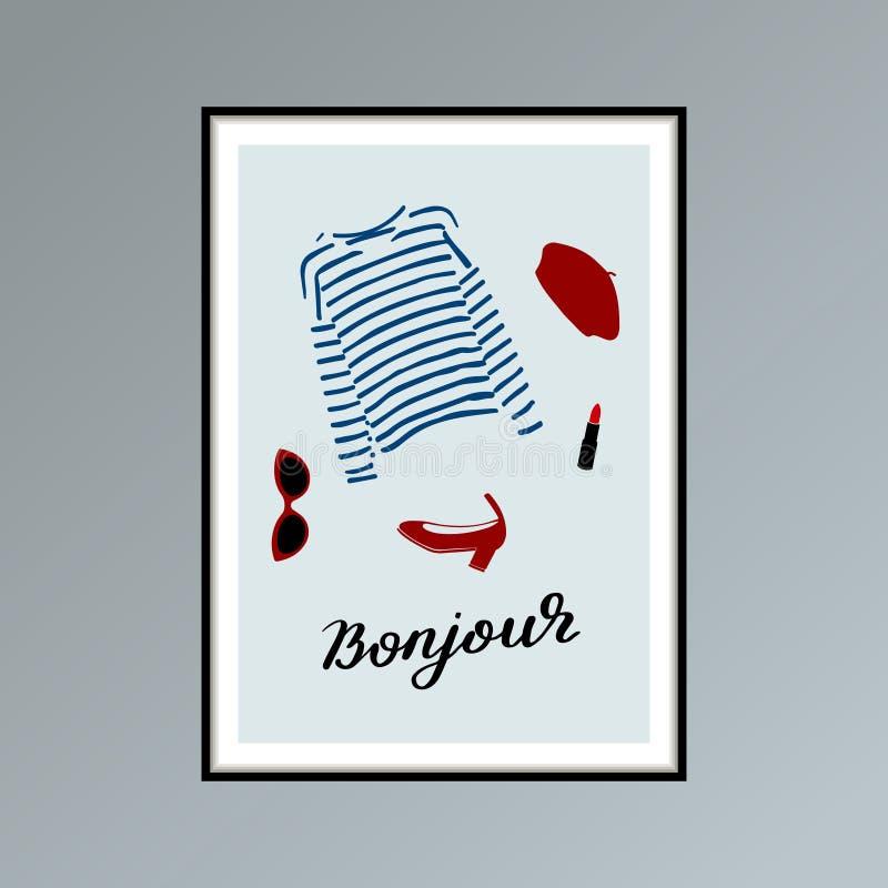 Cartaz com boina, bonjour indicado por letras listrado da palavra da camisa do longlsleeve, do batom, da sapata e da mão, bom dia ilustração stock