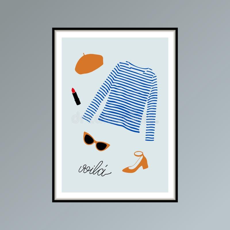 Cartaz com boina, o voila indicado por letras listrado da palavra da camisa do longlsleeve, dos óculos de sol, da sapata e da mão ilustração royalty free