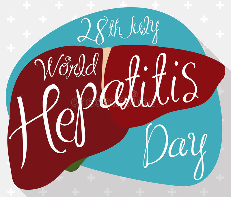 Cartaz com fígado saudável com lembrete do dia da hepatite do mundo, ilustração do vetor ilustração stock