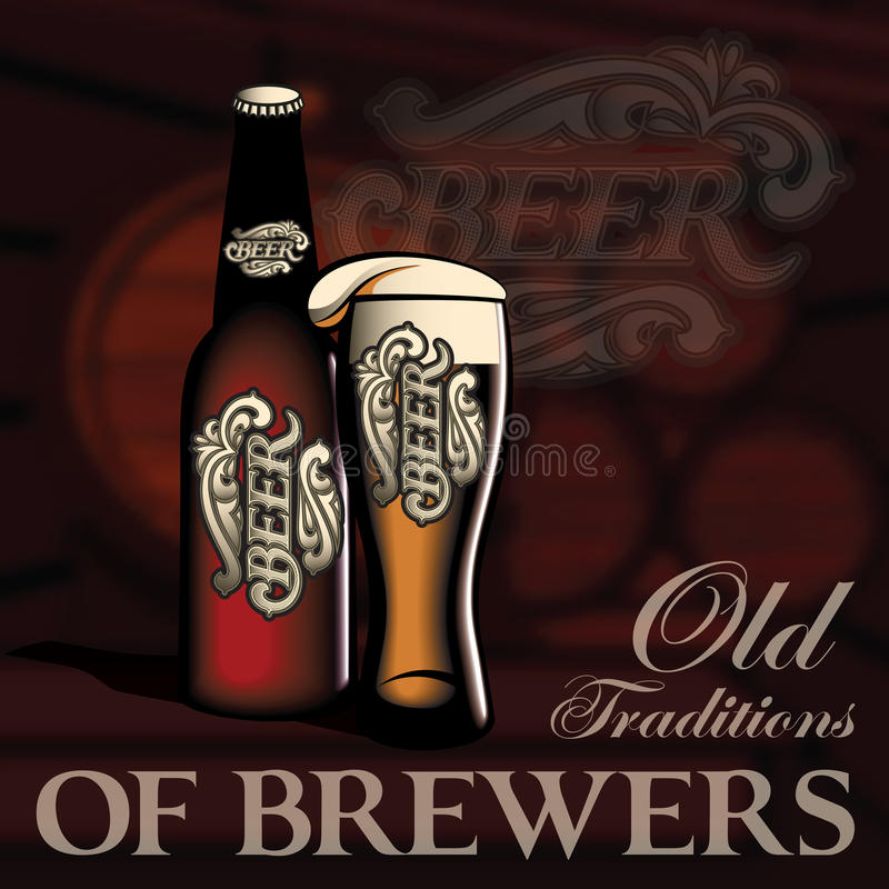 Cartaz com garrafa e vidro da cerveja ilustração do vetor
