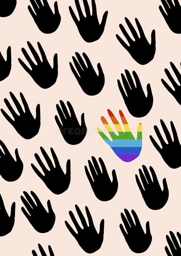 Cartaz com mãos e dizer sobre a igualdade de gênero A bandeira do espectro do orgulho, homossexualidade, o embl ilustração royalty free
