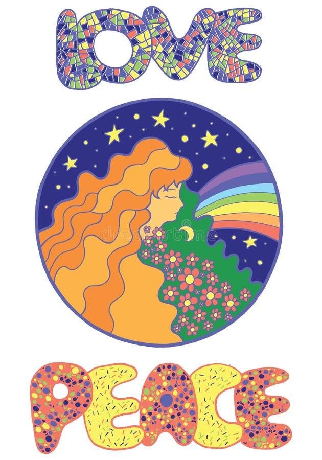 Cartaz com menina da hippie, amor e palavras da paz ilustração stock