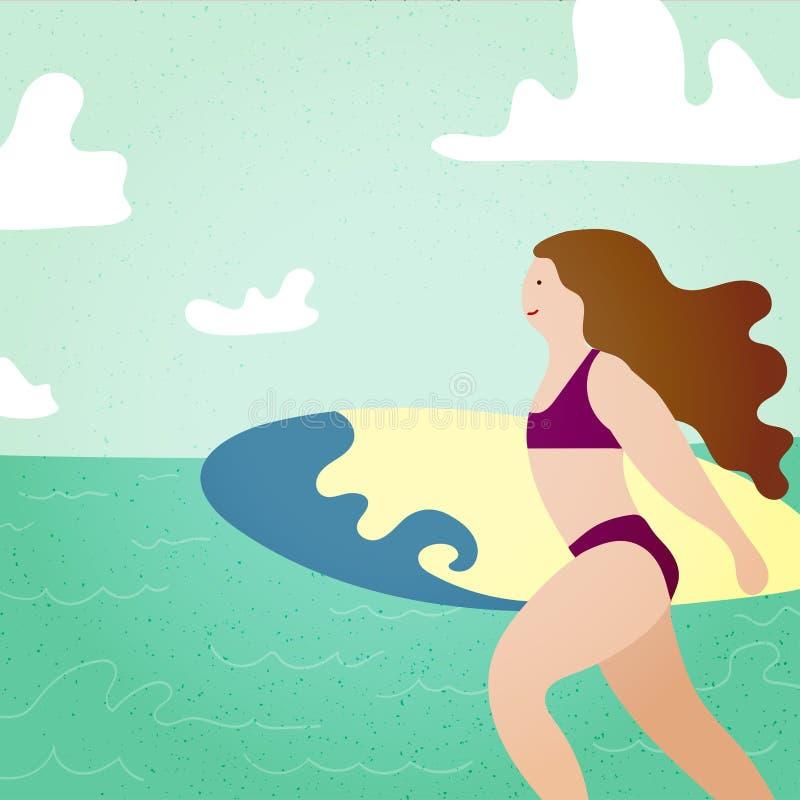 Cartaz com a menina do surfista com a prancha que corre ao oceano A praia e os surfings projetam para o cartaz, o t-shirt ou os c ilustração royalty free