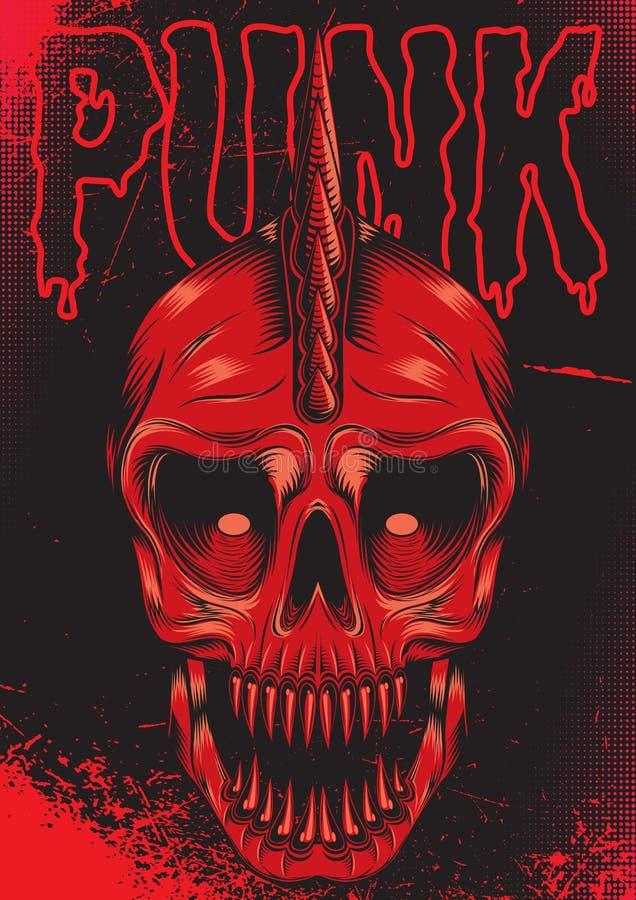 Cartaz com o crânio vermelho para o punk rock ilustração do vetor