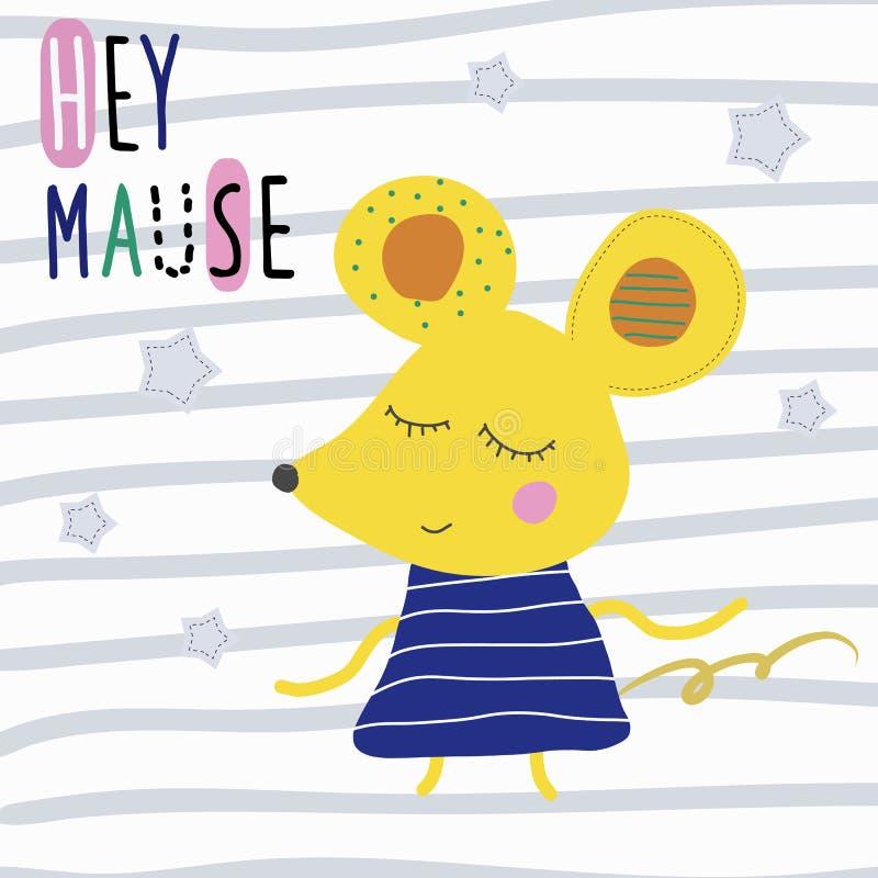 Cartaz com o rato bonito dos desenhos animados e o rato engraçado do slogan Hey ilustração stock