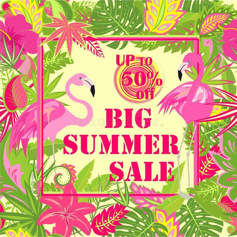 Cartaz com rotulação grande da venda do verão, etiqueta da oferta, folhas de palmeira, as flores tropicais e o flamingo cor-de-ro ilustração royalty free