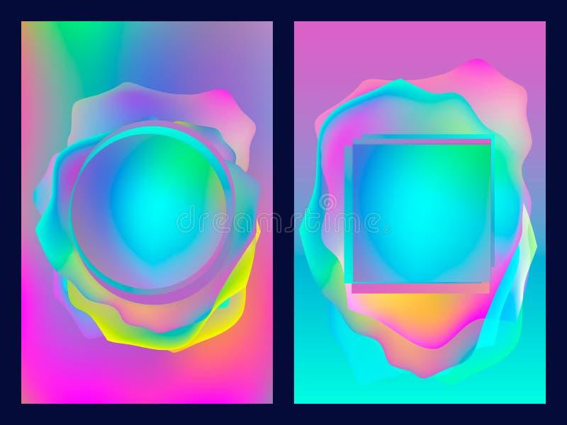Cartaz com teste padrão geométrico liso de néon Fundos gráficos coloridos holográficos Bandeira retro, inseto, folheto, cartaz ilustração stock