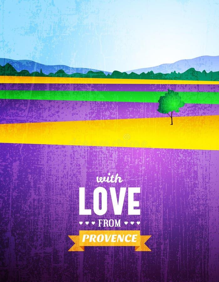 Cartaz com uma paisagem de Provence ilustração royalty free