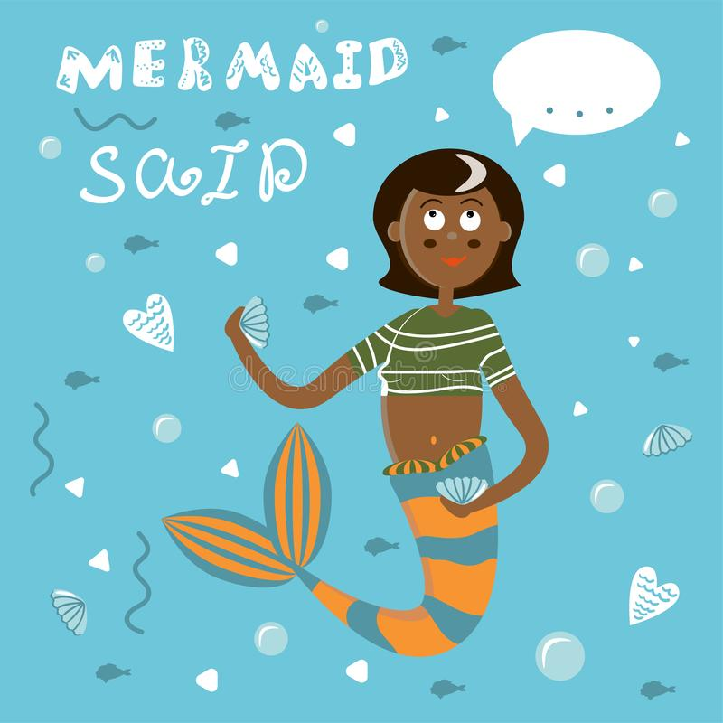 Cartaz com uma sereia dos desenhos animados com cauda vermelha e um t-shirt listrado Sirene da menina com cabelo escuro em um fun ilustração do vetor