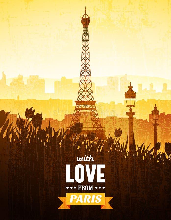 Cartaz com vistas de Paris ilustração do vetor