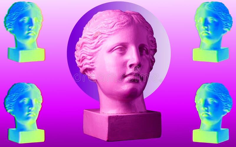 Cartaz conceptual moderno da arte com colagem antiga colorida da arte contemporânea do busto cinco ilustração do vetor