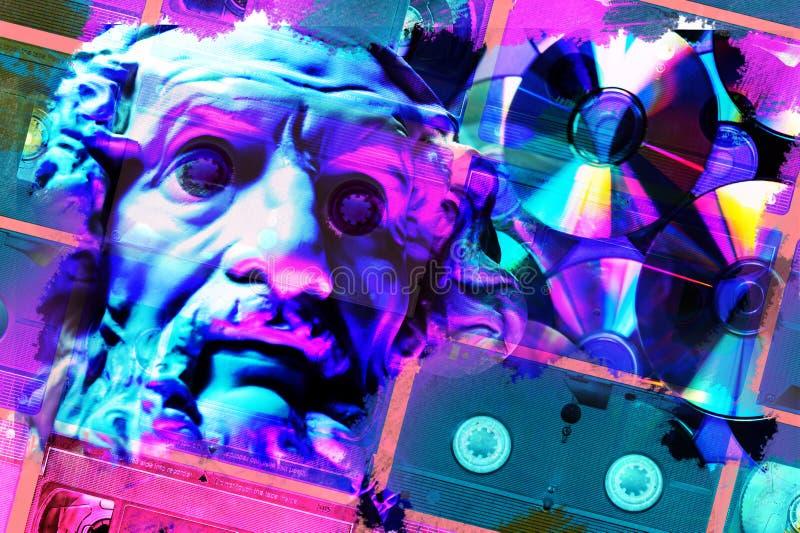 Cartaz conceptual moderno da arte com a estátua antiga da cara e o cassete do VHS Colagem da arte contemporânea ilustração royalty free