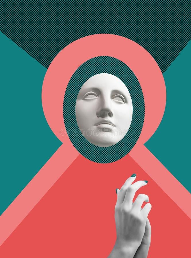 Cartaz conceptual moderno da arte com a estátua antiga do busto do Vênus Colagem da arte contemporânea imagens de stock