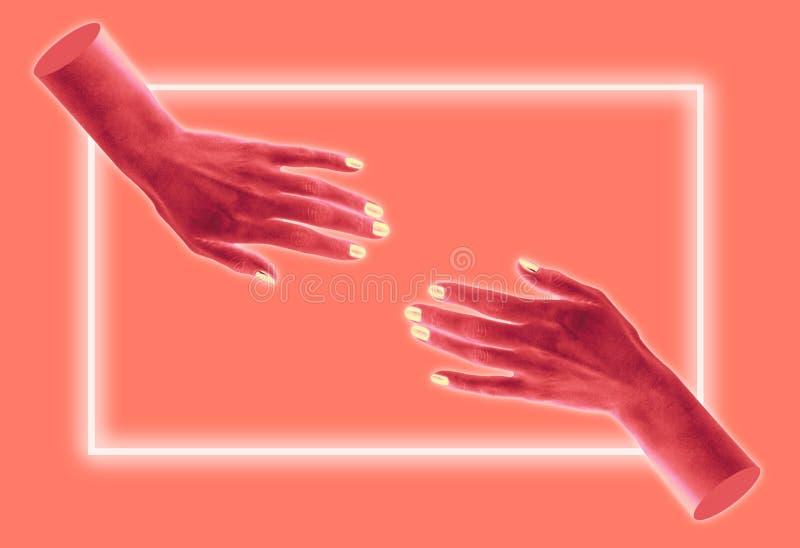 Cartaz conceptual moderno da arte com mãos em um estilo do massurrealism Colagem da arte contempor?nea ilustração do vetor
