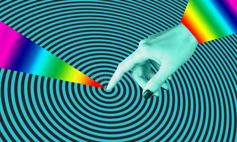 Cartaz conceptual moderno da arte com mãos em um estilo do massurrealism Colagem da arte contempor?nea ilustração stock