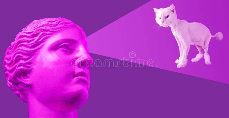 Cartaz conceptual moderno da arte com o busto antigo cor-de-rosa roxo e o gato branco Colagem da arte contemporânea ilustração royalty free