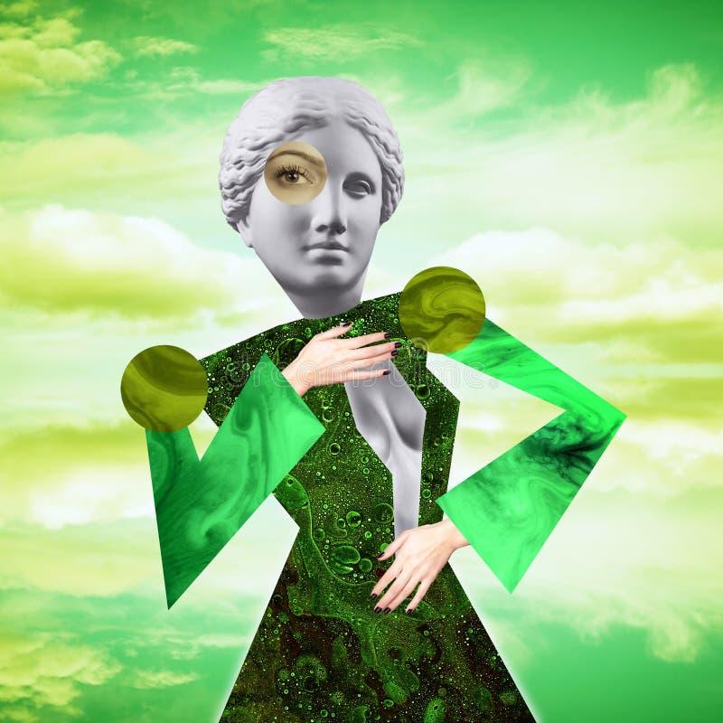 Cartaz conceptual moderno da arte com uma boneca engraçada em um estilo do massurrealism Colagem da arte contempor?nea ilustração do vetor
