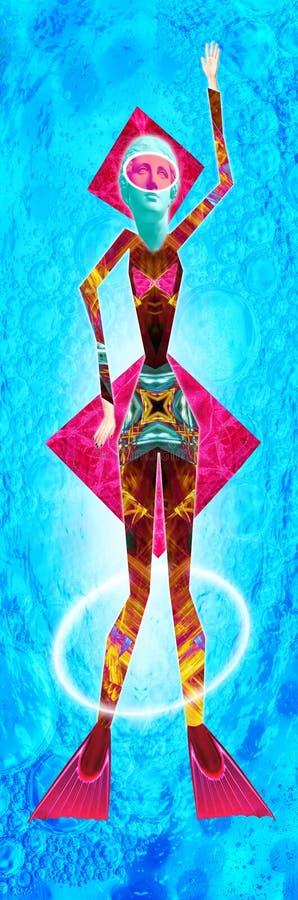 Cartaz conceptual moderno da arte com uma boneca engraçada em um estilo do massurrealism Colagem da arte contempor?nea ilustração stock