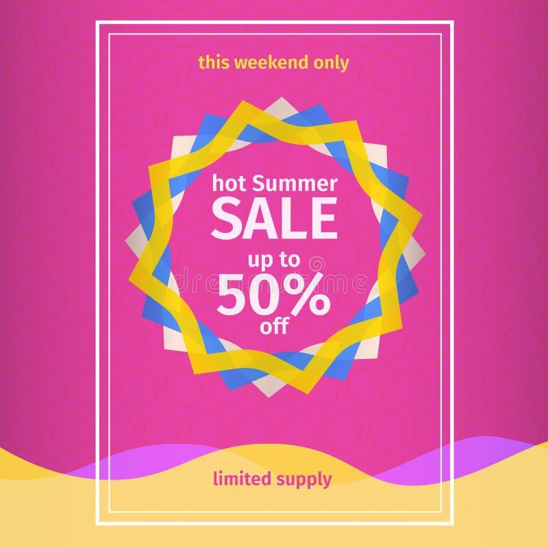 Cartaz cor-de-rosa da venda do verão ilustração stock