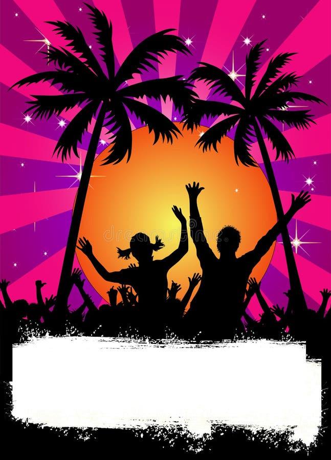Cartaz cor-de-rosa do partido com palmas ilustração royalty free